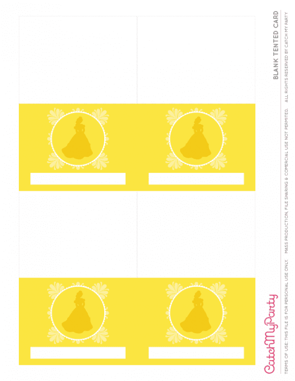 Free Beauty and the Beast Printables - Blank Tented Cards | CatchMyParty.com