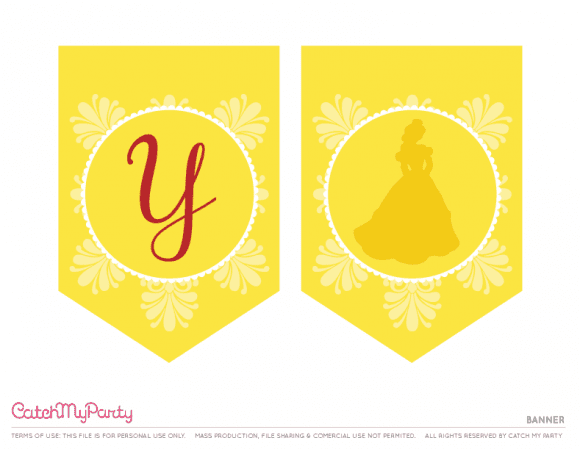 Free Beauty and the Beast Printables - Happy Birthday Banner | CatchMyParty.com