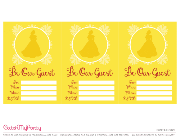 Free Beauty and the Beast Printables - Invitations | CatchMyParty.com