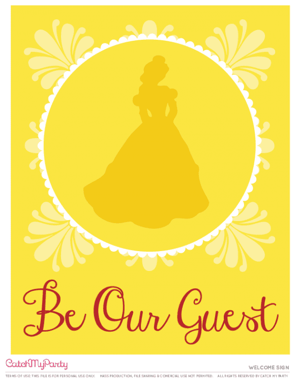 Free Beauty and the Beast Printables - Welcome sign | CatchMyParty.com