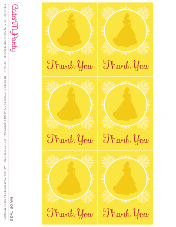 Free Beauty and the Beast Printables - Favor Tags | CatchMyParty.com
