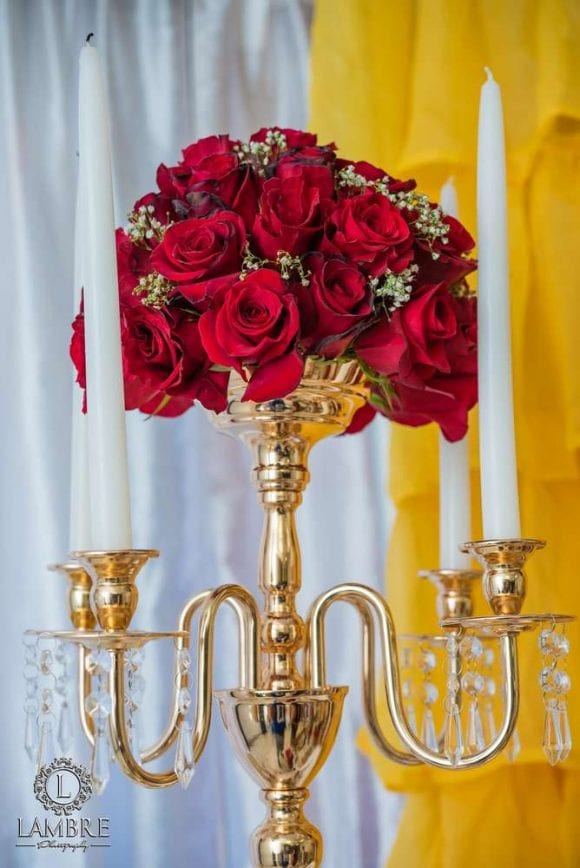 Beauty and the Beast Centerpiece | CatchMyParty.com