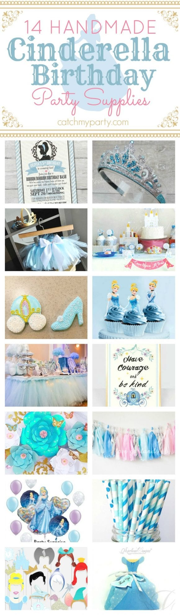 14 Handmade Cinderella birthday party supplies | CatchMyparty.com