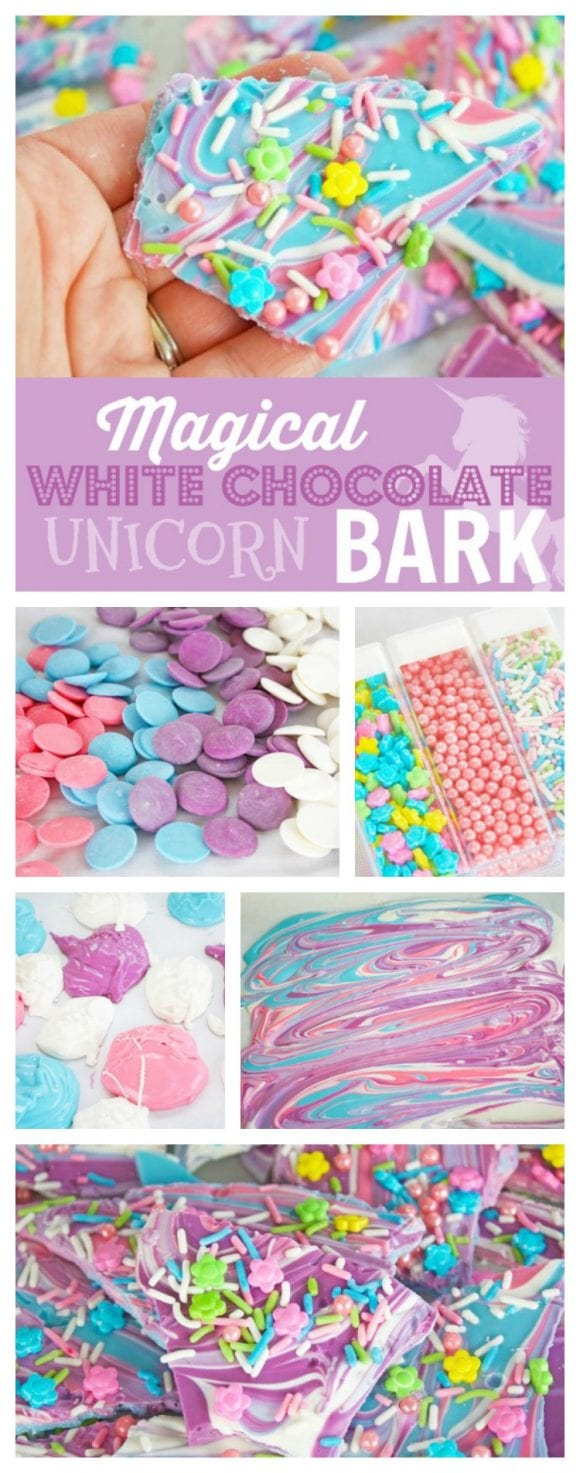 Magical White Chocolate Unicorn Bark | CatchMyParty.com