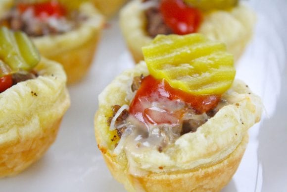 Puff Pastry Burger with Toppings | CatchMyParty.com