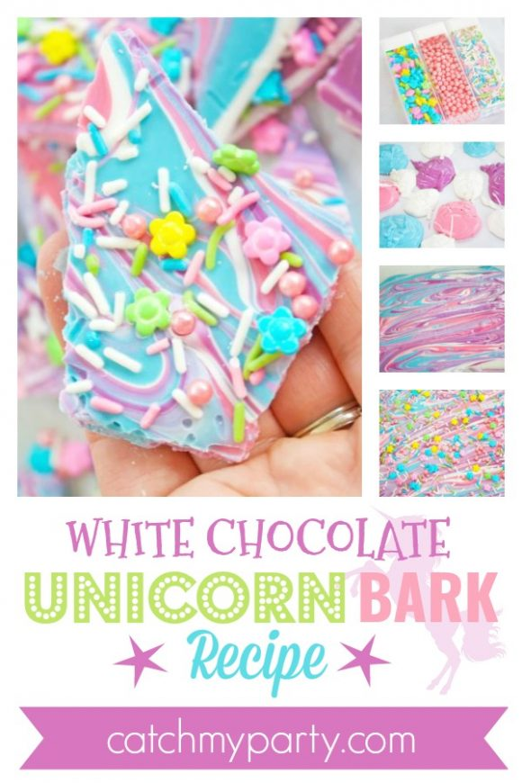 The Best White Chocolate Unicorn Bark Recipe | CatchMyParty.com