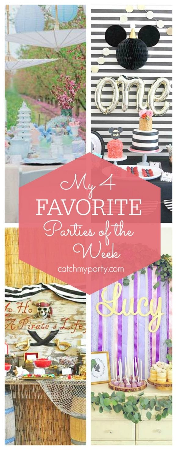 My favorite parties this week include a garden bridal shower party, a Minnie 1st birthday party, a pirate birthday party and a floral 1st birthday party. | CatchMyParty.com