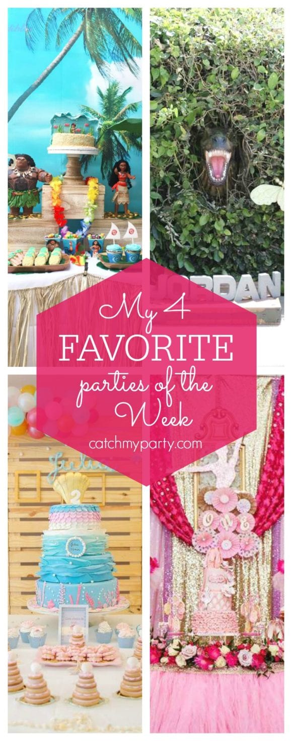 My favorite parties this week include a Moana 3rd birthday party, a Dinosaur birthday party, a Mermaid birthday party and a Ballerina birthday party | CatchMyParty.com