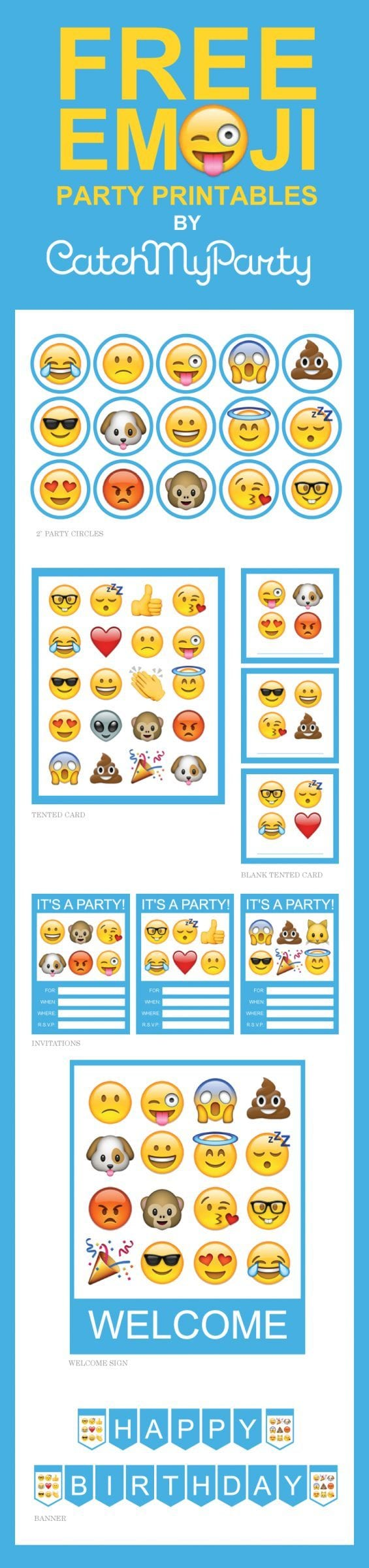 Free Emoji Party Printables | CatchMyParty.com