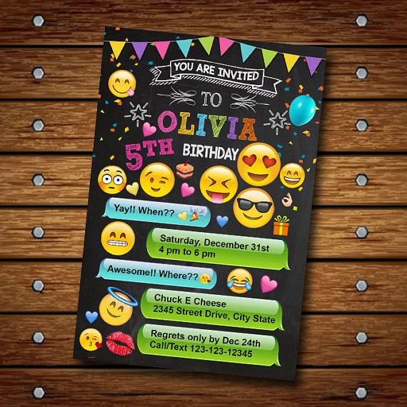 Emoji Birthday party Invitation | CatchMyParty.com