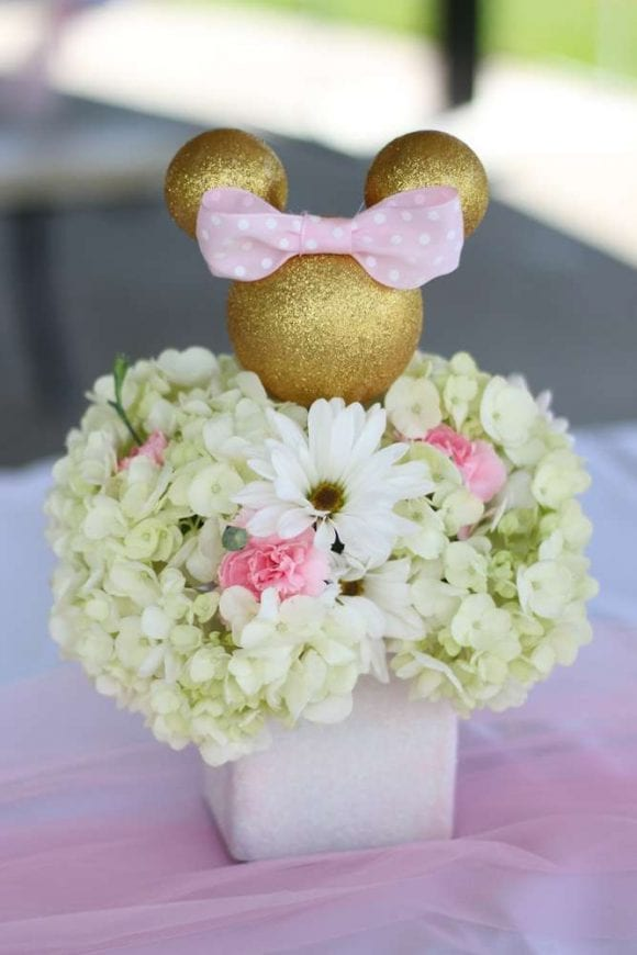 Pink & Gold Minnie Mouse birthday party | CatchMyParty.com