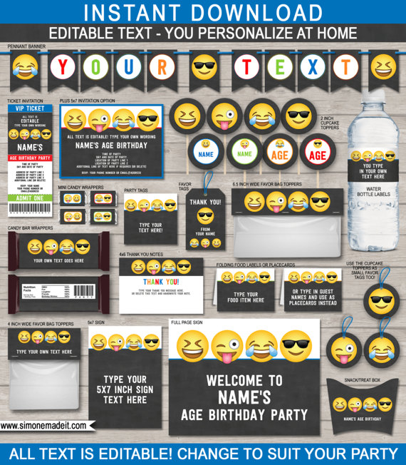 Emoji Party Printables | CatchMyParty.com