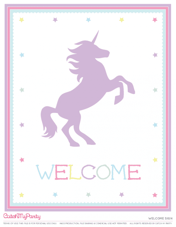 Free Unicorn Party Printables - Welcome sign | CatchMyParty.com