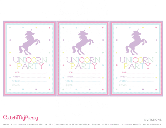 Free Unicorn Printables - Invitations | CatchMyParty.com