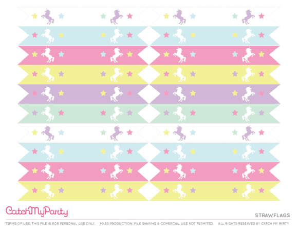 Free Unicorn Party Printables - Strawflags | CatchMyParty.com