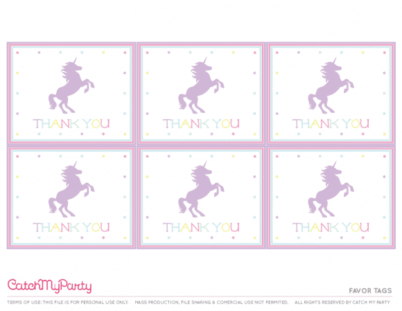 Free Unicorn Party Printables - Favor Tags | CatchMyParty.com