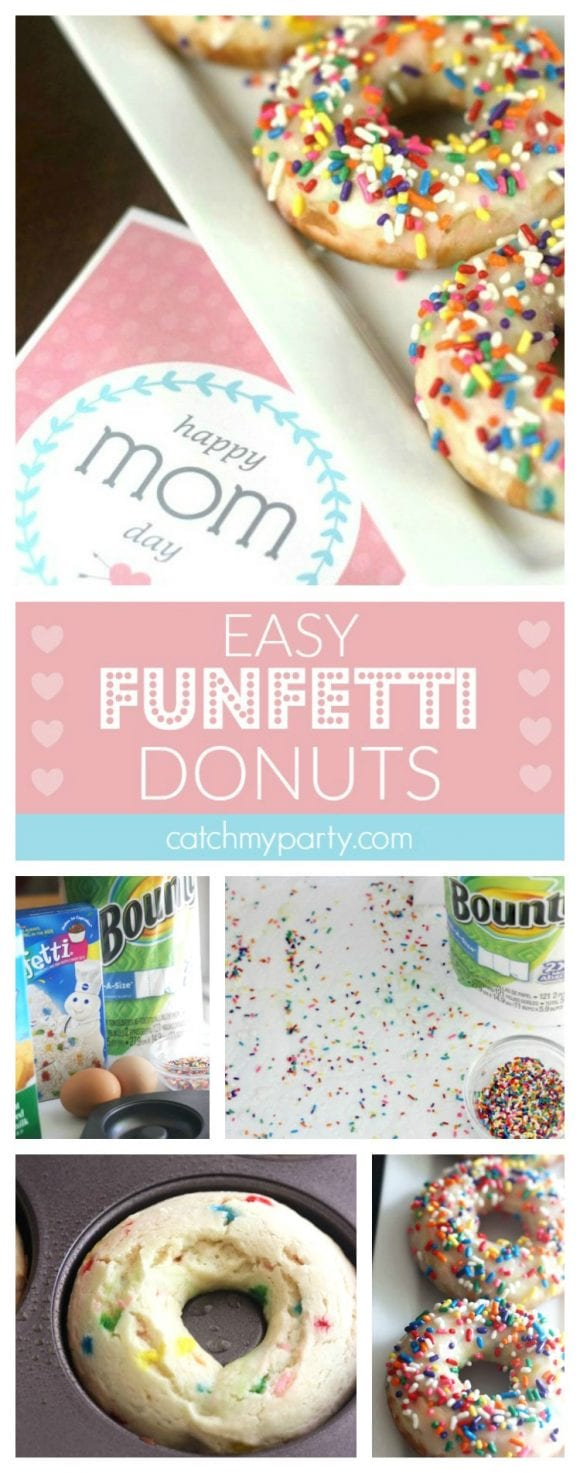 Quick and Easy Funfetti Cake Mix Donuts | CatchMyParty.com