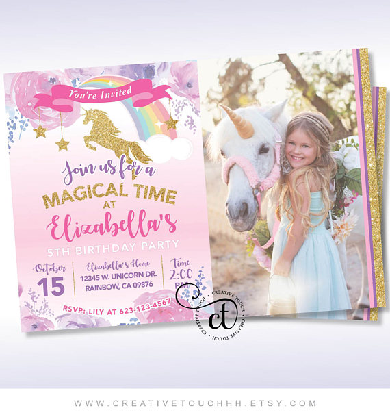 Unicorn party Invitation | CatchMyParty.com