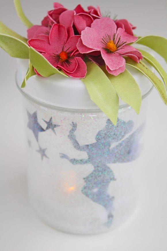 Fabric Flowers Attached on the Jar Cover | CatchMyParty.com
