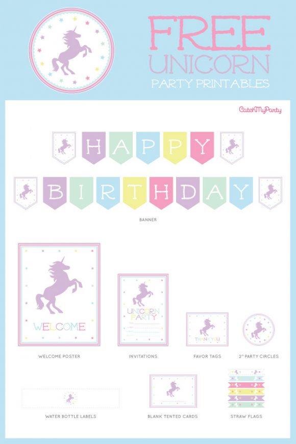 Free unicorn birthday party printables | CatchMyParty.com