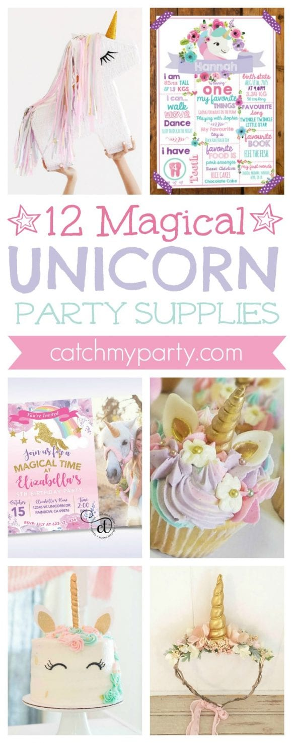 12 Magical Unicorn Party Supplies | CatchMyparty.com