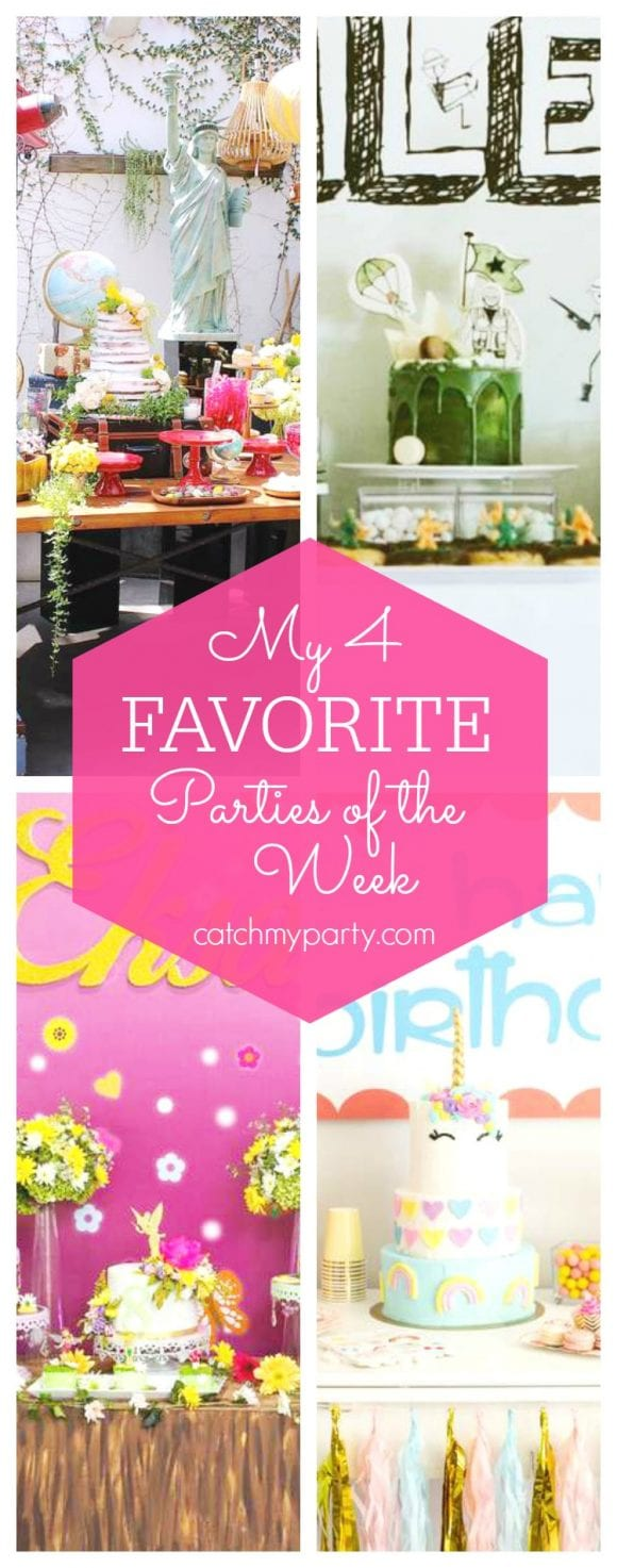 My favorite parties this week include an Oh, The Places You'll Go Baby Shower, an Army birthday party, a Tinkerbell birthday party and a Unicorn birthday party | CatchMyParty.com