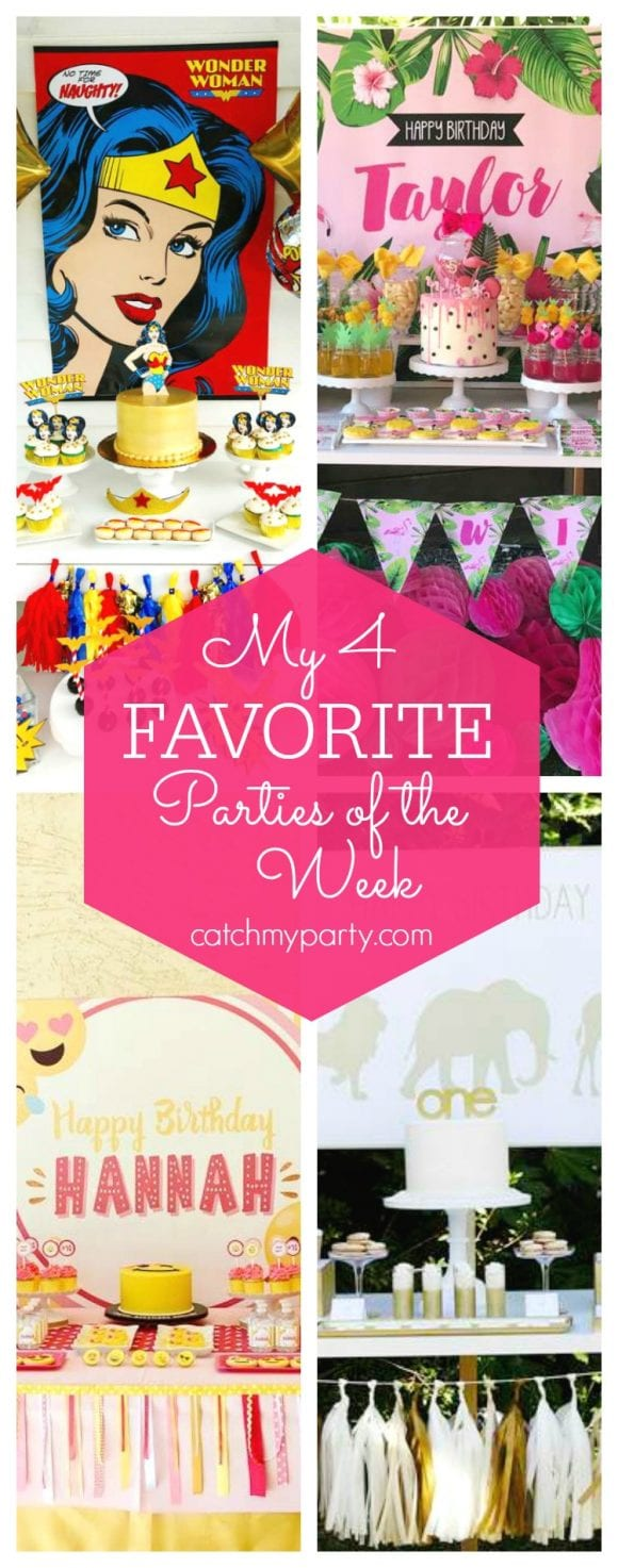My favorite parties this week include a Wonder Woman birthday party, a Tropical Flamingo birthday party, an Emoji birthday and a Safari 1st birthday party | CatchMyParty.com