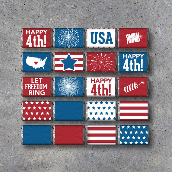 4th July Mini Candy Bar Wrappers | CatchMyParty.com