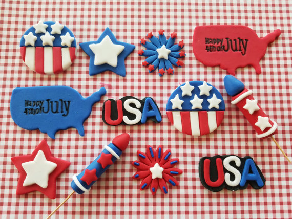 July 4th Fondant Toppers | CatchMyParty.com