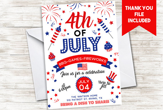 July 4th party Invitation | CatchMyParty.com