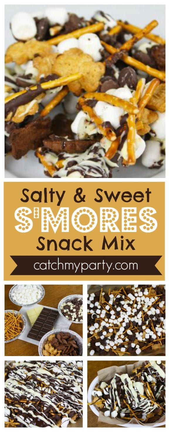 Salty and Sweet S'mores Snack Mix Recipe | CatchMyParty.com