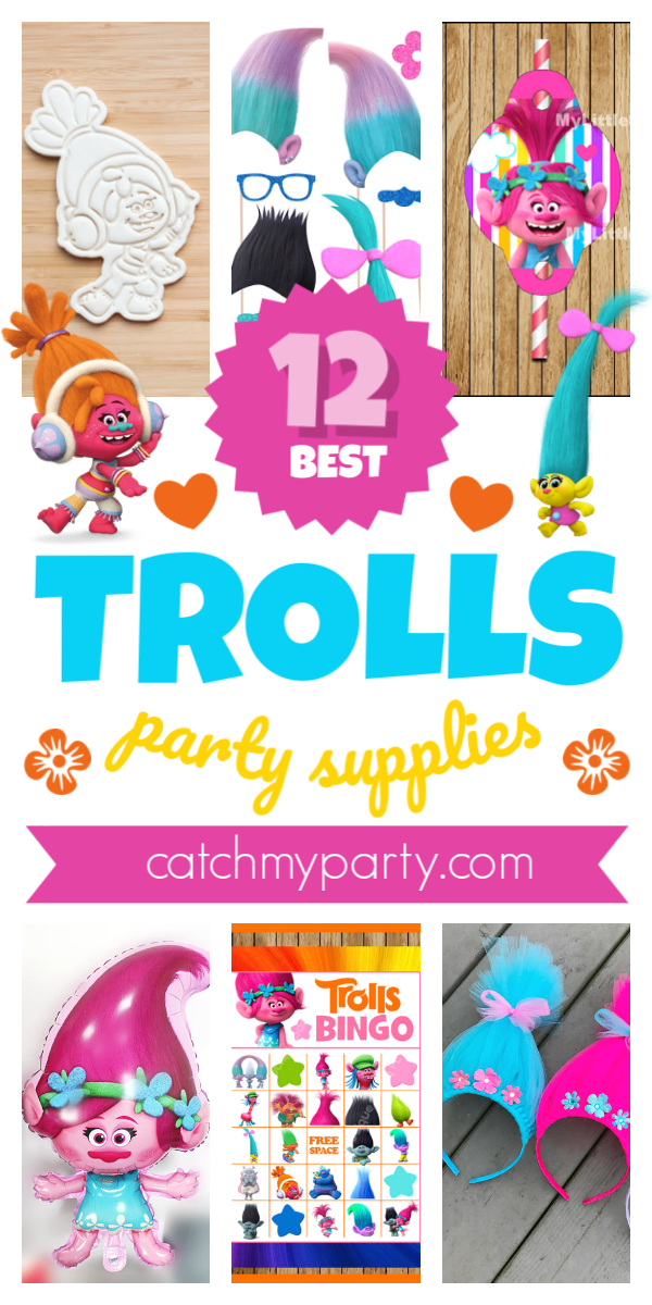 Collage of 12 Fun Trolls Party Supplies