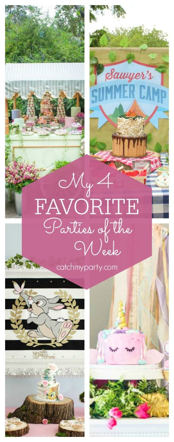 My favorite parties this week include a Parisian Laduree baby shower, a summer camp party, a bambi birthday party and a unicorn of the sea birthday party | CatchMyParty.com