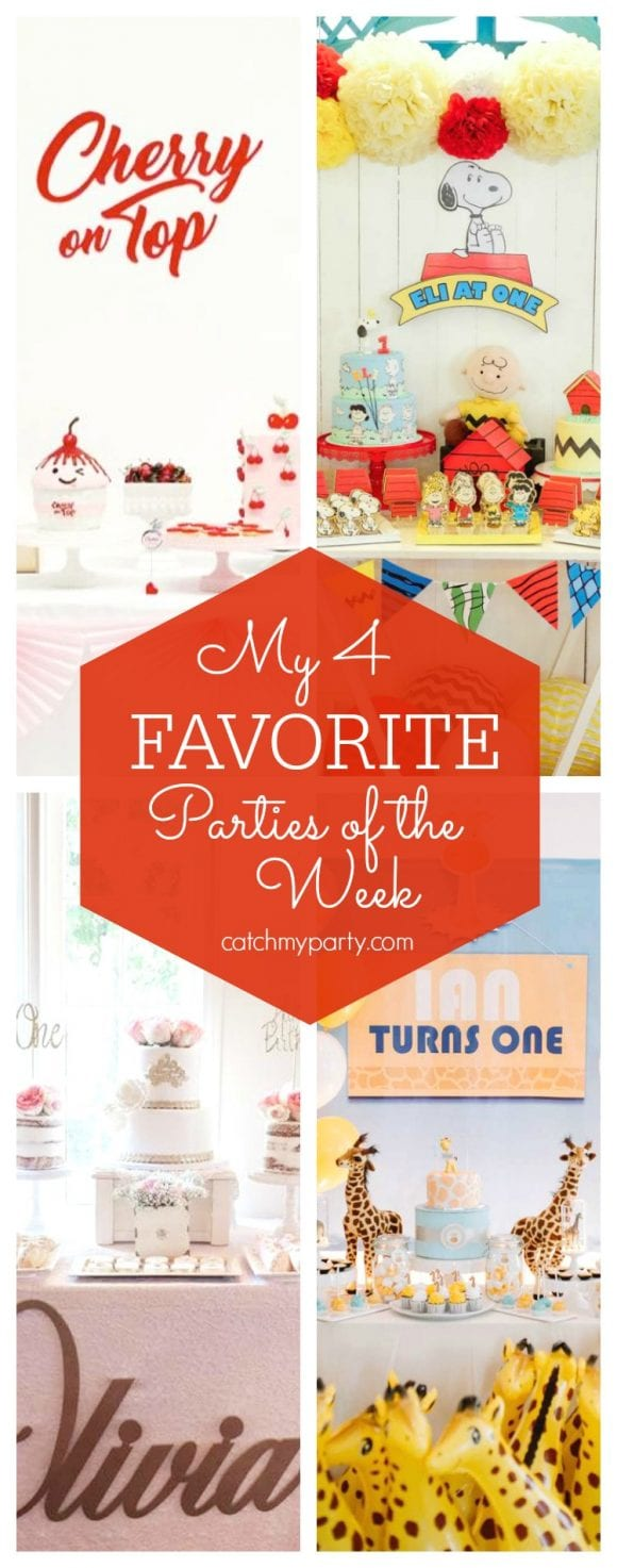 My favorite parties this week include a vintage soda shop party, a Peanuts birthday party, a Shabby Chic birthday party birthday and a giraffe 1st birthday party | CatchMyParty.com
