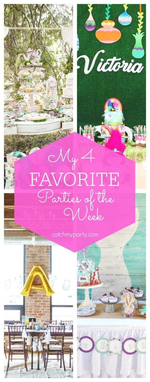 My favorite parties this week include a vintage English tea party, a Trolls birthday party, an brunch baby shower and a mermaid birthday party | CatchMyParty.com