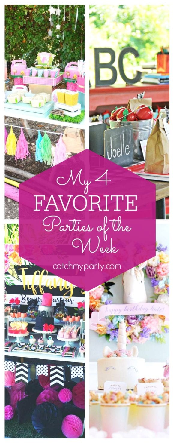 My favorite parties this week include a Girly Glam Camp Out Party, a back to school party, a beauty parlour birthday party and a unicorn art birthday party | CatchMyParty.com