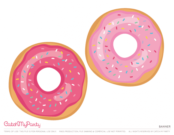 Free Donut Party Printables - Banner | CatchMyParty.com