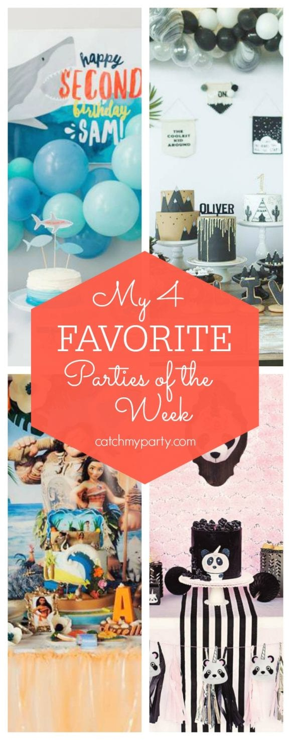 My favorite parties this week include a shark birthday party, a wild one 1st birthday party, a Moana birthday party and a Pandacorn birthday party | CatchMyParty.com