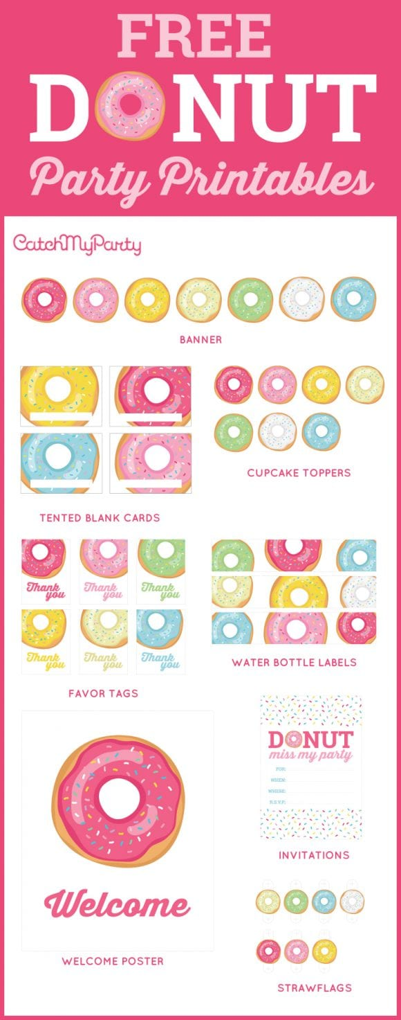 Free Donut party Printables | CatchMyParty.com