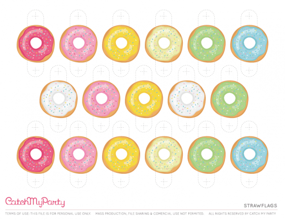 Free Donut Party Printables - Strawflags | CatchMyParty.com