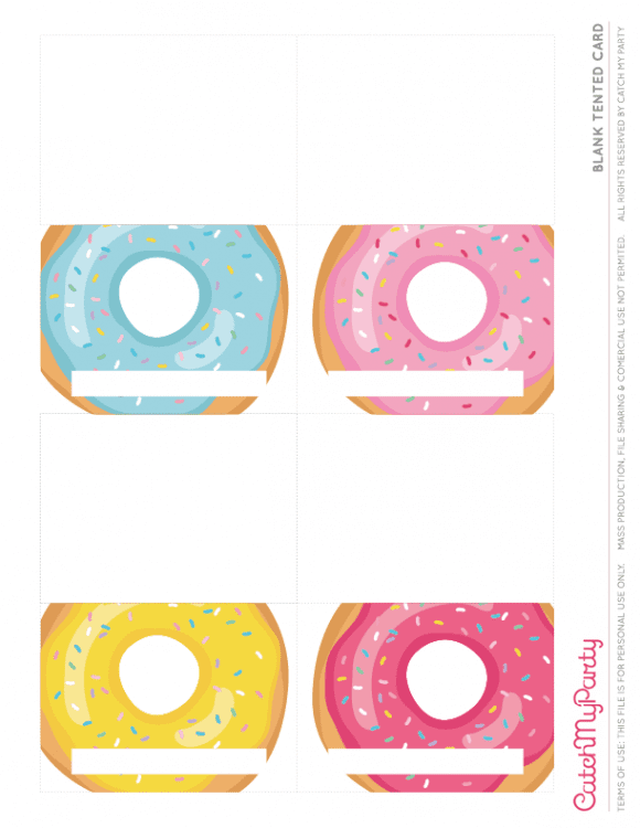 Free Donut Party Printables - Blank Tented Cards | CatchMyParty.com