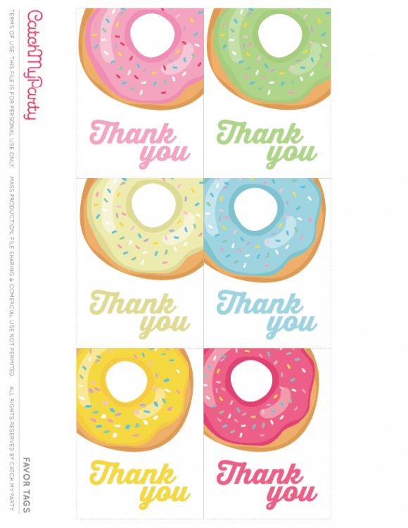 Free Donut Party Printables - Favor Tags | CatchMyParty.com