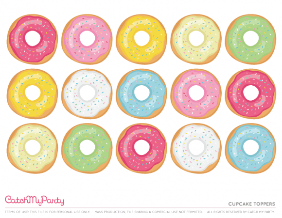 Free Donut Party Printables - Cupcake Toppers | CatchMyParty.com