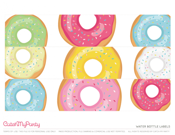 Free Donut Party Printables - Water Bottle Labels | CatchMyParty.com