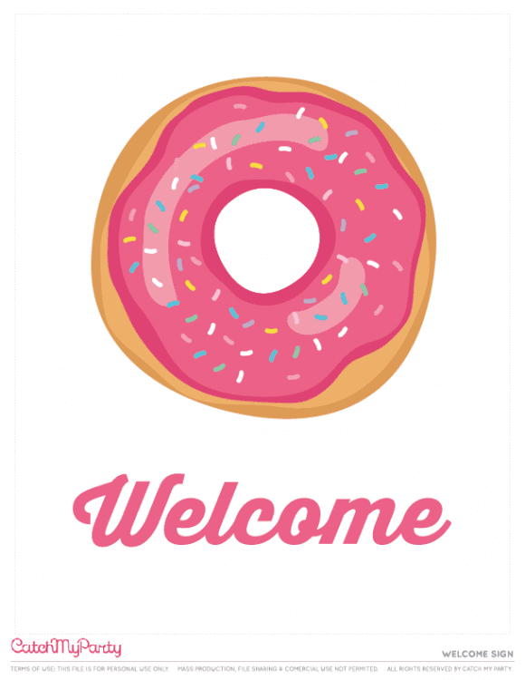 Free Donut Party Printables - Welcome sign | CatchMyParty.com