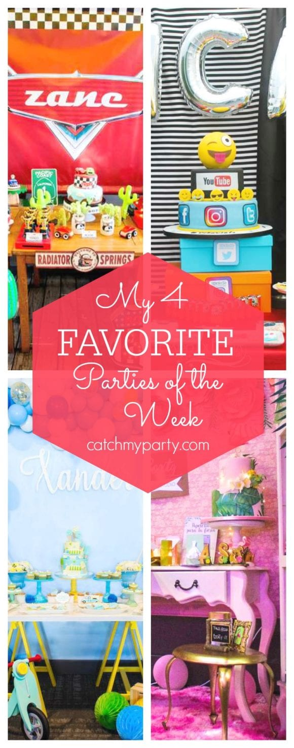 My favorite parties this week include a Disney Cars birthday party, a social media party, an ice cream birthday party and a flamingo quinceañera | CatchMyParty.com