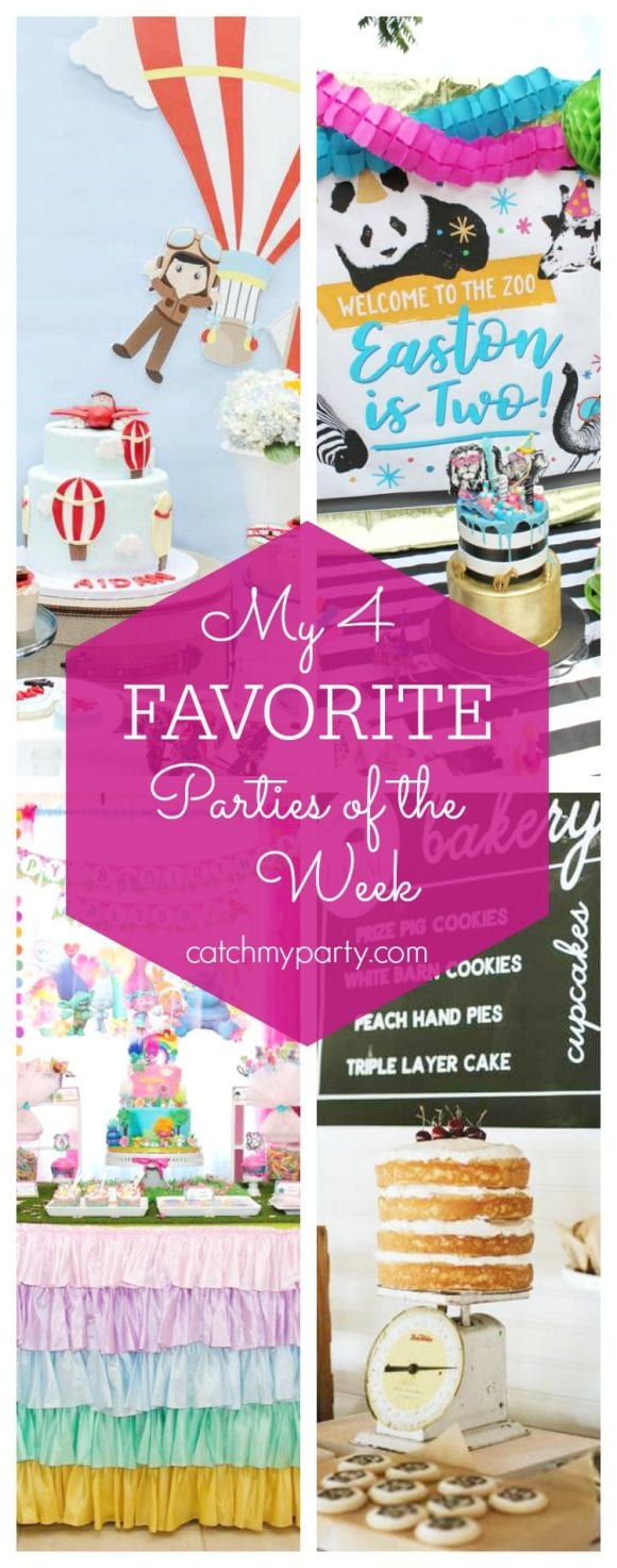 My favorite parties this week include a Hot Air Balloon 1st birthday party, a Party Animal birthday party, a Trolls birthday party and a modern vintage farm birthday | CatchMyParty.com