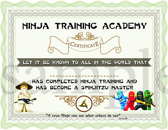 Lego Ninjago Training Certificate | CatchMyParty.com