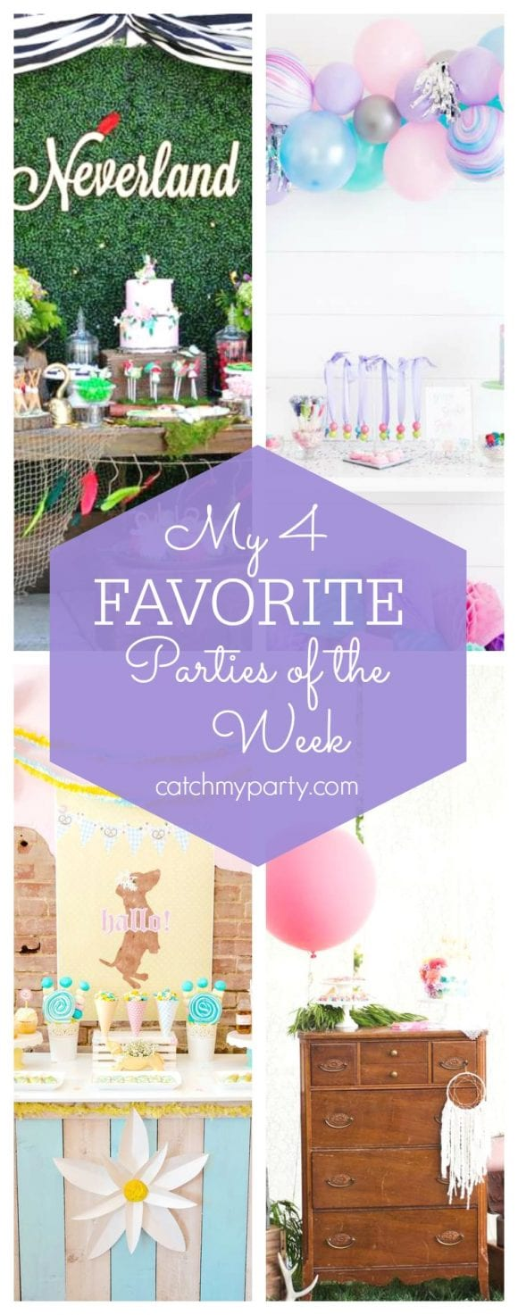 My favorite parties this week include a fun Neverland birthday party, a gems and jewels birthday party, a Oktoberfest fall fete and a boho brunch party | CatchMyParty.com