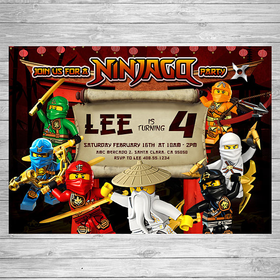Lego Ninjago party Invitation | CatchMyParty.com